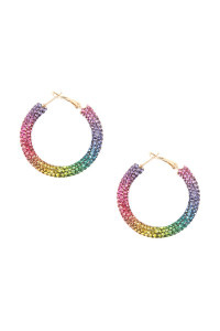 A3-1-2-AHDE2612MT MULTI COLOR RHINESTONE COATED HOOP EARRING/6PAIRS