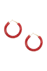 A3-1-2-AHDE2612RD RED RHINESTONE COATED HOOP EARRING/6PAIRS