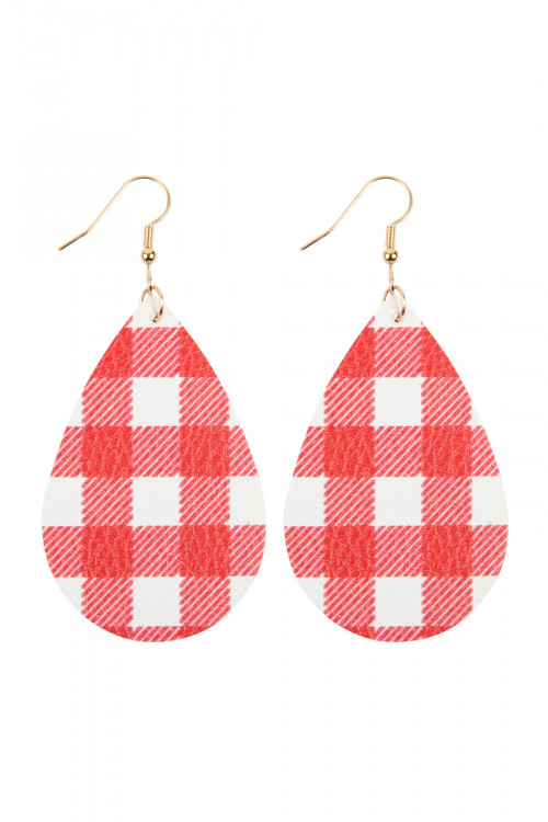 A2-3-3-AHDE2613RD RED PLAID LEATHER TEARDROP EARRINGS/6PAIRS