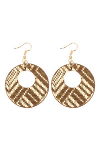 S6-4-2-AHDE2618BR BROWN WEAVED FIBER ROUND DROP EARRINGS/6PAIRS