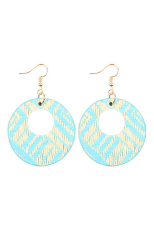 S6-4-2-AHDE2618LBL LIGHT BLUE WEAVED FIBER ROUND DROP EARRINGS/6PAIRS