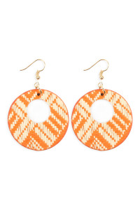S6-4-2-AHDE2618OR ORANGE WEAVED FIBER ROUND DROP EARRINGS/6PAIRS