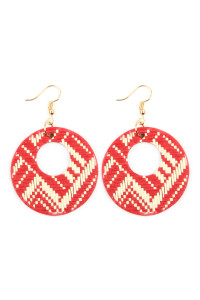 S6-4-2-AHDE2618RD RED WEAVED FIBER ROUND DROP EARRINGS/6PAIRS