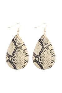 A3-2-3-AHDE2620BR BROWN SNAKE SKIN LEATHER TEARDROP EARRINGS/6PAIRS