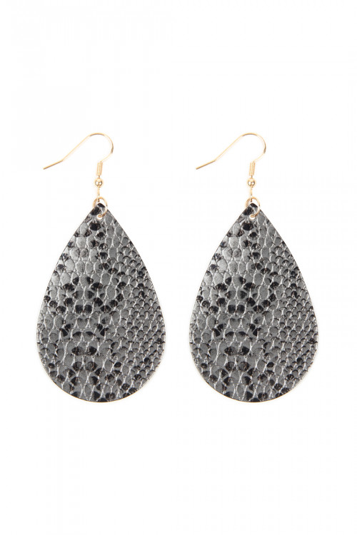 A3-2-3-AHDE2620GY GRAY SNAKE SKIN LEATHER TEARDROP EARRINGS/6PAIRS