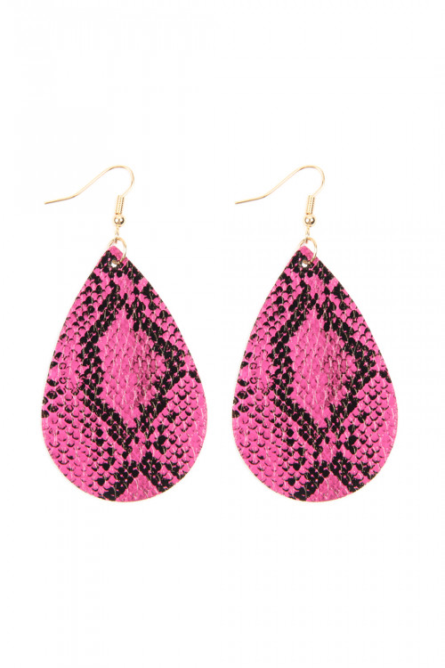 A2-3-3-AHDE2620HPK HOT PINK SNAKE SKIN LEATHER TEARDROP EARRINGS/6PAIRS
