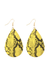 A1-2-2-AHDE2620YW YELLOW SNAKE SKIN LEATHER TEARDROP EARRINGS/6PAIRS