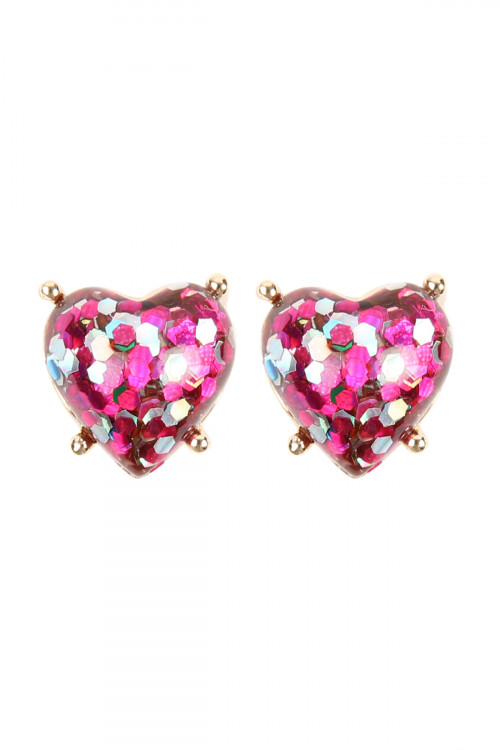 A2-1-2-AHDE2757FS FUCHSIA HEART SEQUIN POST EARRINGS/6PAIRS