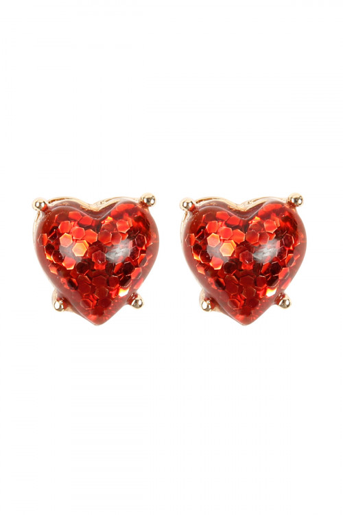 A2-1-2-AHDE2757RD RED HEART SEQUIN POST EARRINGS/6PAIRS