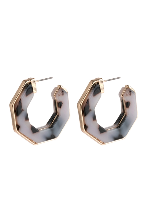 A1-3-3-AHDE2788BKLEO BLACK LEOPARD OPEN POLYGON FACETED ACETATE EARRINGS/6PAIRS