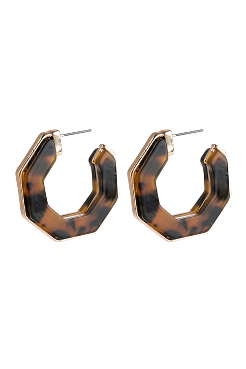 A1-2-2-AHDE2788LEO LEOPARD OPEN POLYGON FACETED ACETATE EARRINGS/6PAIRS