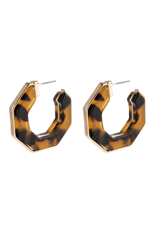 A1-3-4-AHDE2788LLEO LIGHT LEOPARD OPEN POLYGON FACETED ACETATE EARRINGS/6PAIRS