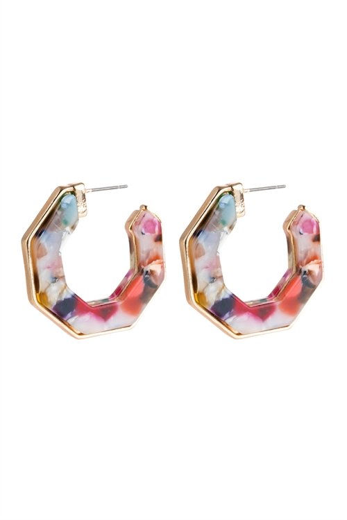 A1-2-2-AHDE2788LMT LIGHT MULTI COLOR OPEN POLYGON FACETED ACETATE EARRINGS/6PAIRS