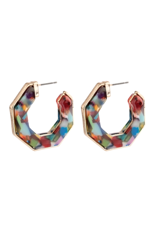 A1-3-4-AHDE2788MT MULTI COLOR OPEN POLYGON FACETED ACETATE EARRINGS/6PAIRS