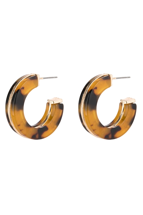 A3-1-2-AHDE2789LLEO LIGHT LEOPARD OPEN CIRCLE FACETED ACETATE EARRINGS/6PAIRS