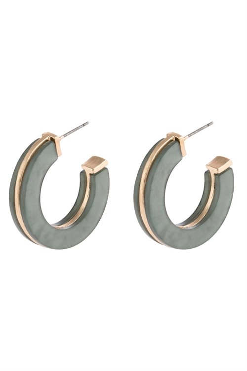 A3-1-2-AHDE2789MN MINT OPEN CIRCLE FACETED ACETATE EARRINGS/6PAIRS
