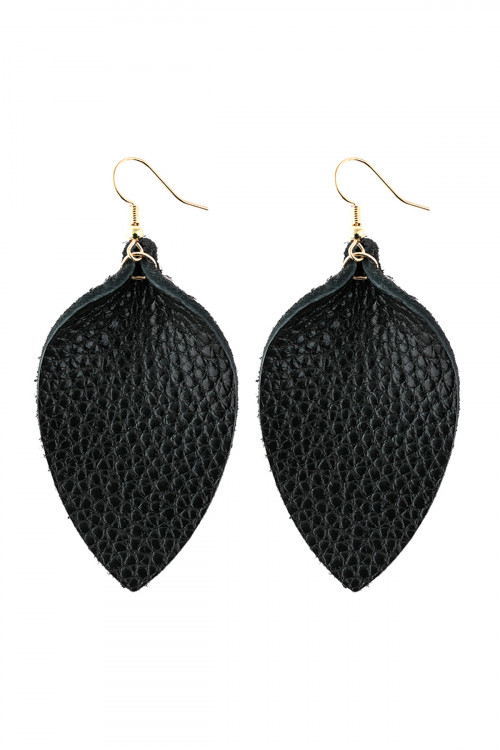 A3-3-3-AHDE2811BK BLACK PINCHED TEARDROP HOOK DROP EARRING/6PAIRS