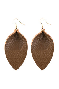 A3-3-2-AHDE2811BR BROWN PINCHED TEARDROP HOOK DROP EARRING/6PAIRS