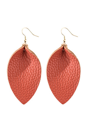 A3-3-4-AHDE2811CO CORAL PINCHED TEARDROP HOOK DROP EARRING/6PAIRS