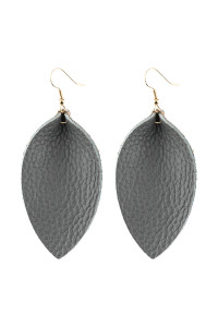 A3-3-2-AHDE2811GY GRAY PINCHED TEARDROP HOOK DROP EARRING/6PAIRS