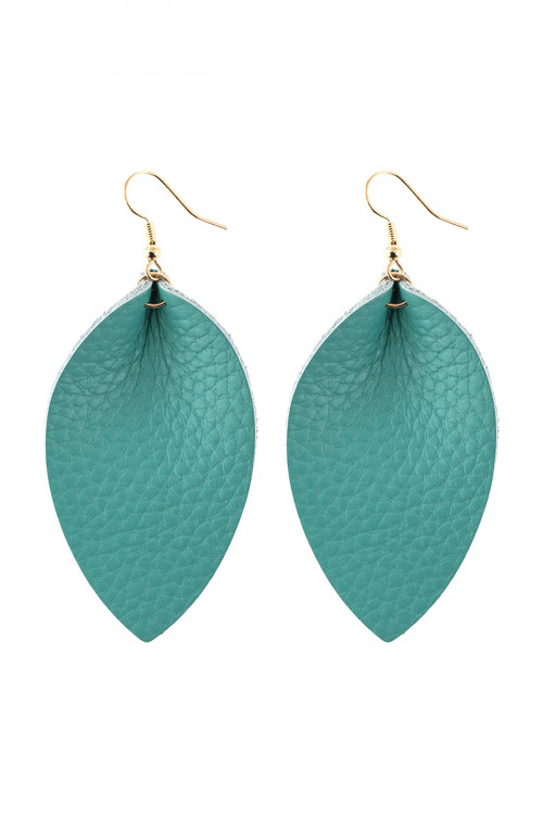 S25-7-3/S25-7-4-AHDE2811TQ TURQUOISE PINCHED TEARDROP HOOK DROP EARRING/6PAIRS