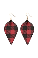 S22-10-4-HDE2817RD - PLAID PINCHED LEATHER EARRINGS - RED/6PCS