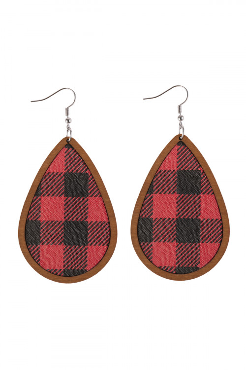 A2-2-4-AHDE2831RDBR RED BROWN PLAID WOOD FRAME TEARDROP EARRINGS/6PAIRS