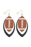 S23-1-4-HDE2845BK - FOOTBALL SPORTS LAYERED LEATHER EARRINGS - BLACK/6PCS