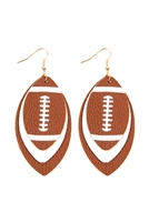 S23-1-4-HDE2845BR - FOOTBALL SPORTS LAYERED LEATHER EARRINGS - BROWN/6PCS