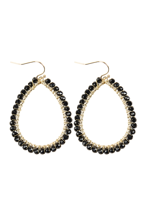 A3-3-3-HDE2856JT JET BLACK WIRE TEARDROP GLASS BEADS HOOK EARRINGS/6PAIRS