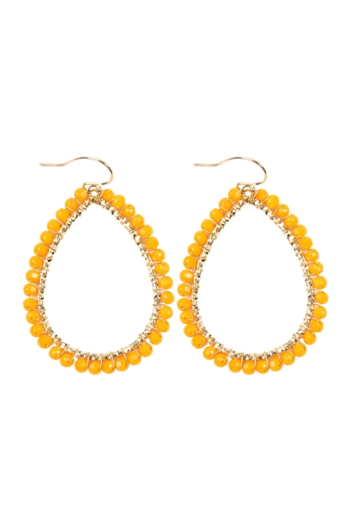 A3-1-2-AHDE2856OR ORANGE WIRE TEARDROP GLASS BEADS HOOK EARRINGS/6PAIRS