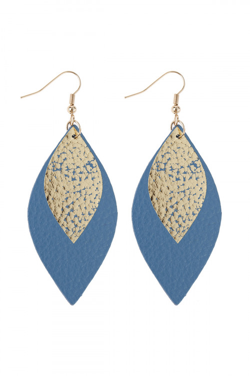 A3-1-3-AHDE2892BL BLUE MARQUISE GOLD LEATHER LAYERED DROP FISH HOOK EARRINGS/6PAIRS