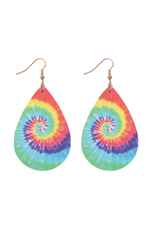 A3-1-3-AHDE2921MT1 MULTI COLOR 1 ABSTRACT DESIGN LEATHER TEARDROP HOOK EARRINGS/6PAIRS