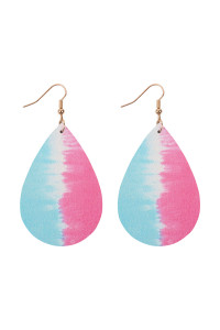 A3-1-3-AHDE2921MT2 MULTI COLOR 2 ABSTRACT DESIGN LEATHER TEARDROP HOOK EARRINGS/6PAIRS