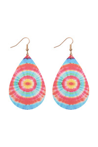 A3-1-4-AHDE2921MT3 MULTI COLOR 3 ABSTRACT DESIGN LEATHER TEARDROP HOOK EARRINGS/6PAIRS
