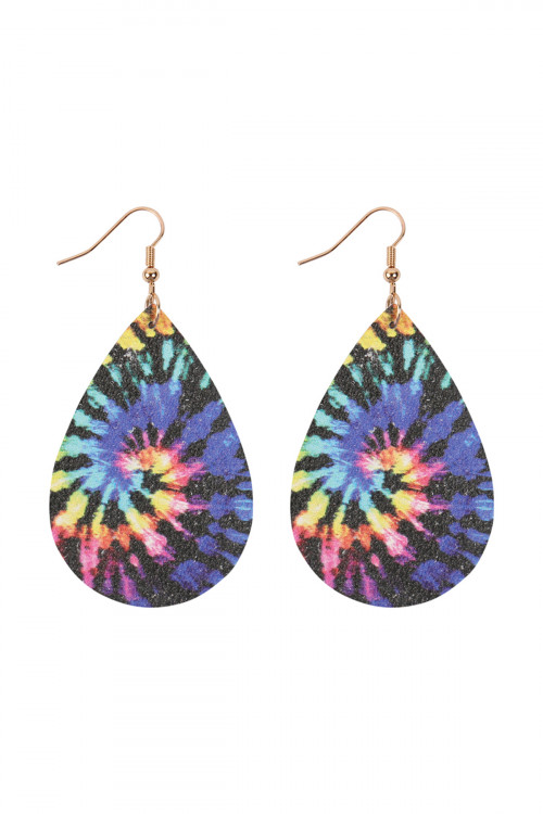 A2-1-3-AHDE2921MT5 MULTI COLOR 5 ABSTRACT DESIGN LEATHER TEARDROP HOOK EARRINGS/6PAIRS