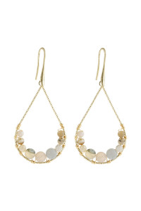A1-1-5-AHDE2927BD BEIGE NATURAL STONE TEARDROP HOOK EARRINGS/6PAIRS