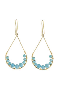 A1-1-5-AHDE2927TQ TURQUOISE NATURAL STONE TEARDROP HOOK EARRINGS/6PAIRS