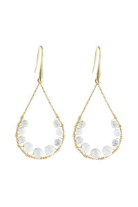 A1-3-5-AHDE2927WT WHITE NATURAL STONE TEARDROP HOOK EARRINGS/6PAIRS