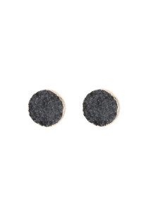 A3-2-5-AHDE2937GY GRAY ROUND DRUZY STUD EARRINGS/6PAIRS