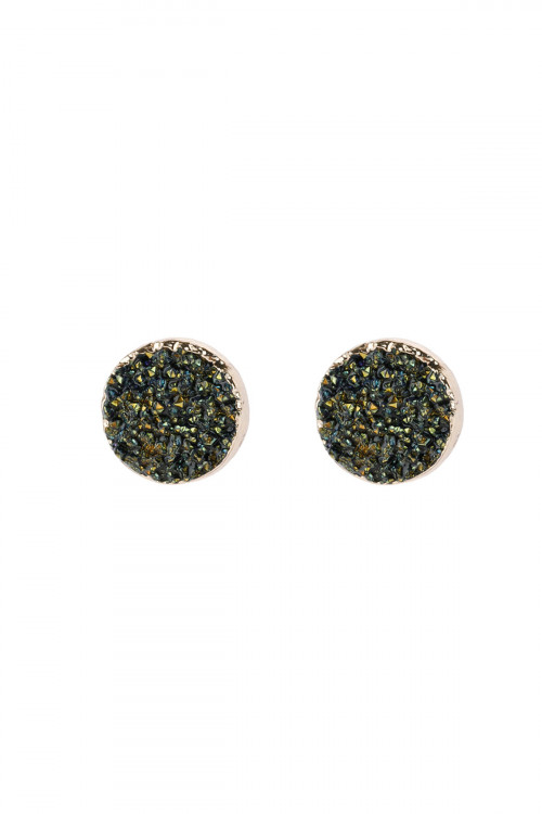A2-2-5-HDE2937H HEMATITE ROUND DRUZY STUD EARRINGS/6PAIRS