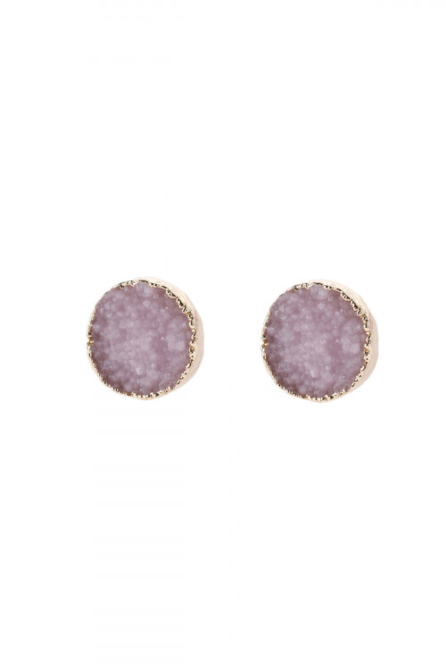 A2-2-5-HDE2937LPK LIGHT PINK ROUND DRUZY STUD EARRINGS/6PAIRS