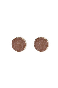 A3-2-5-AHDE2937PH PEACH ROUND DRUZY STUD EARRINGS/6PAIRS
