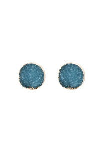 A3-2-5-AHDE2937TQ TURQUOISE ROUND DRUZY STUD EARRINGS/6PAIRS