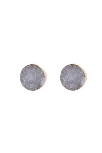 A2-3-5-AHDE2937WT WHITE ROUND DRUZY STUD EARRINGS/6PAIRS