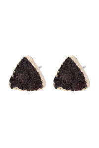S4-6-4-AHDE2938BU BURGUNDY TRIANGLE DRUZY STONE STUD EARRINGS/6PAIRS