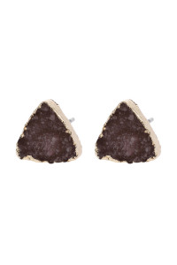 A2-3-5-AHDE2938DBR DARK BROWN TRIANGLE DRUZY STONE STUD EARRINGS/6PAIRS