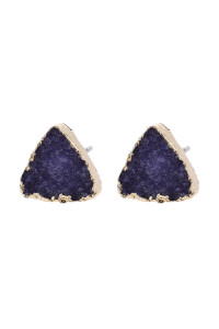 SA3-1-5-AHDE2938DPU DARK PURPLE TRIANGLE DRUZY STONE STUD EARRINGS/6PAIRS