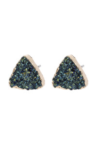 SA3-1-5-AHDE2938H HEMATITE TRIANGLE DRUZY STONE STUD EARRINGS/6PAIRS