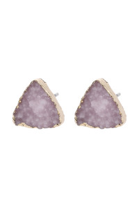 A2-3-5-AHDE2938LPK LIGHT PINK TRIANGLE DRUZY STONE STUD EARRINGS/6PAIRS